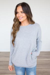 Cozy Knit Pocket Tunic - Heather Grey