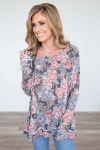 Floral Print High Low Tunic - Navy Multi