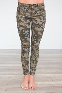 Camo Print Zipper Detail Pants - Green