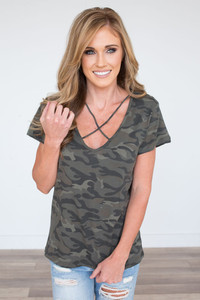 Strap Detail Camo Top - Green Multi