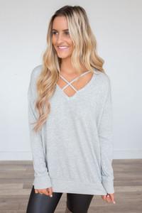 Criss Cross Detail Sweater - Heather Grey