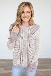 Cable Knit Textured Sweater - Beige Multi