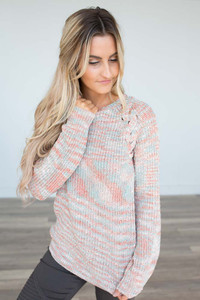 Criss Cross Shoulder Detail Sweater - Coral Multi