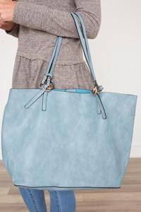 Kennedy Distressed Handbag - Dusty Blue