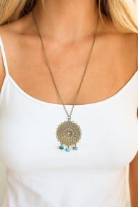 Cutout Medallion Necklace - Gold/Turquoise
