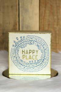 """Happy Place"" Box Sign - Gold Multi"