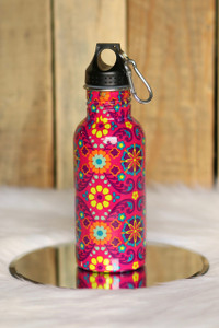 Floral Print Water Bottle - Pink Multi