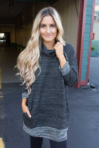Cowl Neck Sweatshirt Tunic - Heather Black
