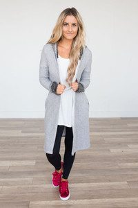 Contrast French Terry Long Cardigan - Grey
