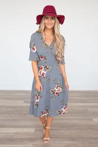 Rose Printed V-Neck Dress - Grey - FINAL SALE