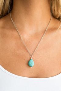 Stone Pendant Necklace - Turquoise