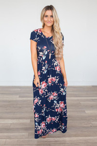 Floral Print Cross Back Maxi - Navy