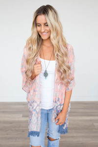 Watercolor Fringe Kimono - Peach Multi - FINAL SALE