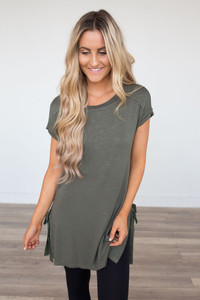 Short Sleeve Side Tie Tunic - Olive