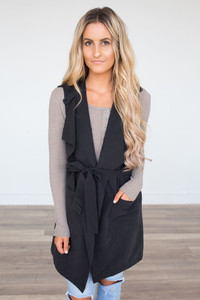 Faux Suede Belted Vest - Black - FINAL SALE
