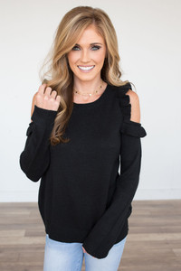 Ruffle Cold Shoulder Sweater - Black