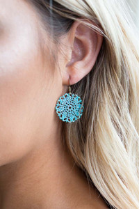 Painted Cutout Earrings - Turquoise