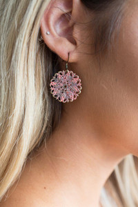Painted Cutout Earrings - Coral