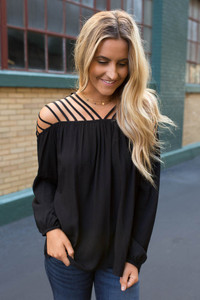 Caged Shoulder Detail Top - Black