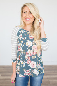 Striped Floral Baseball Tee - Green
