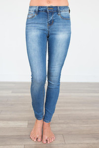 Faded Skinny Jeans - Medium Wash