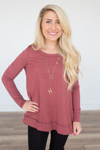 Long Sleeve High Low Tunic - Cranberry