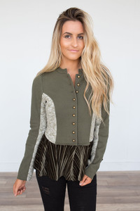 Luxe Love Military Jacket - Olive