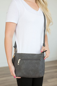 Distressed Faux Leather Crossbody - Charcoal