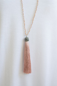 Beaded Tassel Necklace - Blush