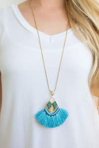 Simba Fringe Necklace - Electric Blue