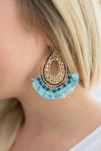 Simba Fringe Earrings - Electric Blue