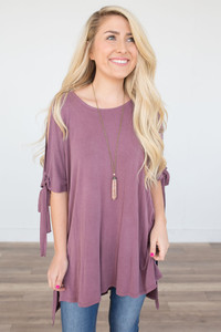 Open Shoulder Tunic - Ruby Wine