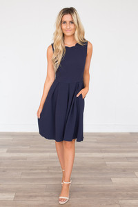 Scalloped Detail Pleated Dress - Navy