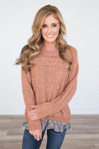 Floral Ruffle Trim Sweater - Dusted Clay