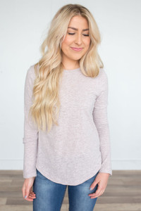 Long Sleeve Scoop Neck Tee - Heather Taupe
