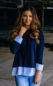 Collegiate Contrast Hem Sweater - Navy