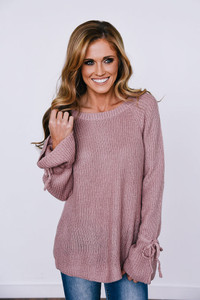 Bell Tie Sleeve Sweater - Mauve