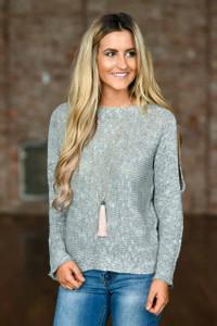 Open Shoulder Sweater - Heather Grey