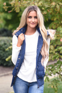 Faux Fur Hooded Vest - Navy