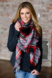 Plaid Blanket Scarf - Red/Black/Pink