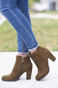 Faux Suede Booties - Harvest Olive