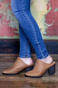 Faux Suede Stitched Mules - Tan