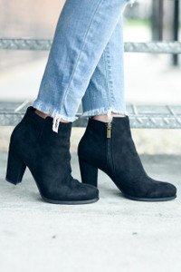 Faux Suede Booties - Black