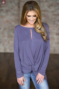 Keyhole Twisted Knot Top - Dusty Amethyst
