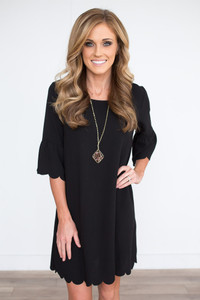 Ruffle Sleeve Scalloped Dress - Black