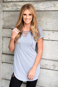 Short Sleeve Lace Up Tunic - Light Slate
