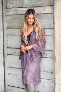 Floral Lace Midi Kimono - Dusty Purple