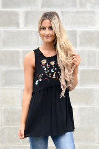 Floral Embroidered Babydoll Top - Black