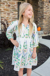 Kids Floral Embroidered Dress - White Multi