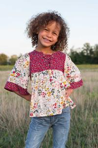 Kids Floral Lace Up Blouse - Burgundy Multi